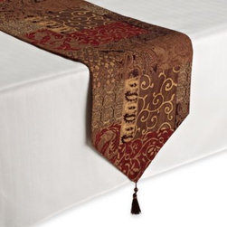 Croscill - Croscill Galleria Table Runner - The detailed pattern of this table runner in rich shades of brown will add an elegant touch to any table.