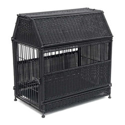 "Jeco - Large Black Wicker Dog House  -  Roof Top - ""Our beautifully-designed wicker dog crates will compliment any decor. The wicker-style is fully functional as a safe and comfortable dog house."