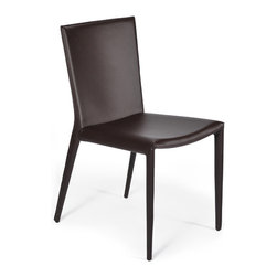 Gingko - Kube Chair Brown - Looking quite chic, yet could be seen in a rocker's home, this leather brown chair is subtly stated with impressive lines and steel base. Use it as a side chair, a dining chair or living room accoutrement.
