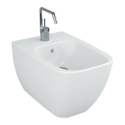 Vitra - Contemporary Wall Mounted Square Ceramic Wall Mount Bidet - Complete your trendy master bath with this luxury bidet from Vitra.