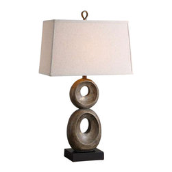 Uttermost Osseo Aged Table Lamp - Distressed dusty gray wash with gold leaf undertones and a matte black foot. Distressed dusty gray wash with gold leaf undertones and a matte black foot.