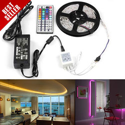 5m (16.4ft) 5050 SMD Color Changing RGB LED Light Strip Kit With 44 key Controll - Complete Color Changing RGB LED Light Strip Kit with RGB Flexible LED Strip, Controller with RF Remote, and 12V Power Supply. 5 meter (197 in) non-weatherproof flexible light strips with adhesive backing, can be cut into 3-LED segments. Can be used for accent lighting, under cabinet lighting, under counter lighting, display case lighting, and many more lighting projects.