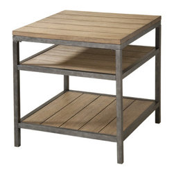 """Stein World - West Branch End Table - Features: -West Branch collection. -Material: Metal and wood combination. -Shelf storage. Dimensions: -24"""" H x 24"""" W x 20"""" D, 57.2 lbs."""