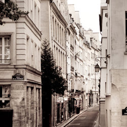 Paris Photo Street Scene by Paris Plus - There's nothing more graphic and beautiful than architectural photography of some of the great cities in the world. This one taken of a charming, narrow street in Paris is magical.
