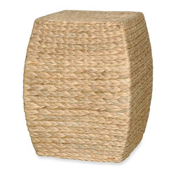 Emissary Arc Stool/Table with Hyacinth Wrap - This hyacinth-wrapped stool would be perfect paired with some bright chairs or accessories on a porch. Turn it into a side table by setting a tray on top.