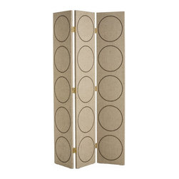 Arteriors - Emory Room Screen - Whether you want a bit of privacy or merely to divide a spacious setting, call on this three-panel linen screen. The simply handsome pattern of repeating circles is formed by brass nailheads.