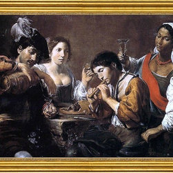 """Valentin De boulogne-16""""x24"""" Framed Canvas - 16"""" x 24"""" Valentin De boulogne Musician and Drinkers framed premium canvas print reproduced to meet museum quality standards. Our museum quality canvas prints are produced using high-precision print technology for a more accurate reproduction printed on high quality canvas with fade-resistant, archival inks. Our progressive business model allows us to offer works of art to you at the best wholesale pricing, significantly less than art gallery prices, affordable to all. This artwork is hand stretched onto wooden stretcher bars, then mounted into our 3"""" wide gold finish frame with black panel by one of our expert framers. Our framed canvas print comes with hardware, ready to hang on your wall.  We present a comprehensive collection of exceptional canvas art reproductions by Valentin De boulogne."""