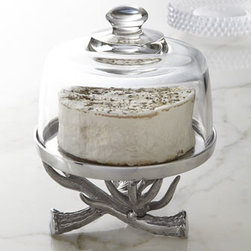 "Arthur Court - Arthur Court Antler Cake Stand with Glass Dome - Arthur Court turns inspiration into art, creating a cake stand with rustic appeal. Handcrafted of polished aluminum and glass. Elkhorn-shaped accents. Hand wash. 8""Dia. x 8""T. Imported."