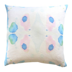 "Adaptive Textiles - Splash Pool 18""X18"" Pillow - This ethereal watercolor design would be perfect on a white bed or sofa. The pastel ink blots are subtle and sublime. You could add a bit of art to any room with this pillow."