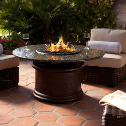 California Outdoor Concepts - Del Mar Chat Fire Pit Table - You can easily work this piece into literally any outdoor design.  The granite color can be changed and the fireplace can be converted easily into a ice bucket (for wine & beer of course) or covered for additional table space.