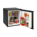 """Avanti - 1.7 Cubic-Foot Refrigerator Superconductor Parcel - Avanti SHP1712SDC-IS 1.7 Cubic Foot Compact Superconductor Refrigerator with Black finish & Stainless Steel door.  Superconductor Technology eliminates compressor noise and vibration.  Internal control system sustains low wattage by regulating power consumption based on inside temperature (uses less energy than a household light bulb).  Long lasting energy efficient interior LED lighting.  Full range temperature control.  Soft interior light with On/Off switch.  Tall bottle rack on door accommodates 2-liter bottles.  Reversible door (left or right swing).  Dual Power Option: 115 Volt AC or 12V DC (12 volt adapter included).  17""""W x 20.25""""H x 19"""" D, 27 lbs."""