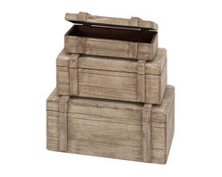 Benzara - Nautical Maritime Decor Wood Boxes, Set of 3 - Size: 13 Wide x 8 Depth x 6 High, 11 Wide x 7 Depth x 5 High, 9 Wide x 6 Depth x 4 High (Inches)