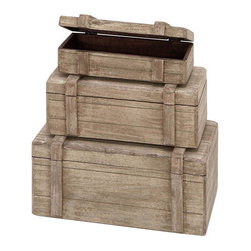 Benzara - Wood Boxes - Set of 3 13in., 11in., 9in.W Nautical Maritime Decor - Size: 13 Wide x 8 Depth x 6 High, 11 Wide x 7 Depth x 5 High, 9 Wide x 6 Depth x 4 High (Inches)