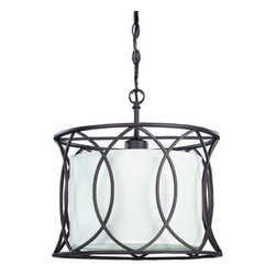 Canarm - Monica Oil Rubbed Bronze One-Light Drum Pendant with White Fabric Shade - The Monica single light pendant can be used as accent lighting in any setting, sure to stir conversation.  It has a crisp clean white fabric shade and is also available in 9.  -White Fabric Shade  -Material: Steel/Zinc Diecast  -Includes 5 ft. of chain and 8 ft. of wire Canarm - IPL320A01ORB14