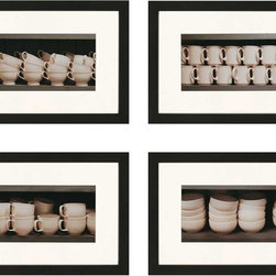 "Paragon Decor - Vintage Ware, Set of 4 Artwork - Add some interest to those boring walls with this set of 4 ""Vintage Ware"" Each piece in this little set of 4 has its own unique sepia-toned cup composition, but the set finds its cohesion in its shared style and color scheme. Each piece in this set is surrounded by an off-white matte and simple black frame, and measures 31 inches wide, 2 inches deep, and 21 inches high."