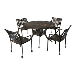Great Deal Furniture - Pinamar Outdoor Dining Set (Set of 5) - Nothing symbolizes beauty and peacefulness more than a rose, and our Dining Set matches that legacy with rose adorned chair backs, creating a warm, serene atmosphere. The basket weave pattern shared by the chairs and table add extra opulence and richness, while not being overbearing. The pattern also provides strong support for seated persons and dishes and beverages on the table.