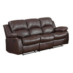 Homelegance - Homelegance Cranley Double Reclining Sofa in Brown Leather - The reclining Cranley collection utilizes release mechanism that with a gentle pull sends you straight into your ultimate comfort zone. Tufted bonded leather covers the overstuffed arms, seats and backs furthering the comfort for you, your family and friends. Offered in black or brown.
