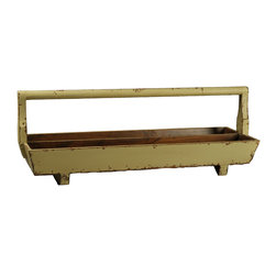 Antique Revival - Butter Marta Double Tray w/ Handle - This long, rectangular double planter tray includes a handle, making it easy to carry and transport between rooms. The wooden structure is sturdy and solid, and the lightly distressed, butter yellow finish adds a splash of color to your kitchen or patio.