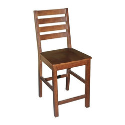 Wooden Imports Furniture - Cafe Chair w Wooden Seat - Set of 2 - Set of 2. 100% Solid Parawood. Environmentally conscious. 18.50 in. W x 18.50 in. D x 42 in. H (23 lbs.)