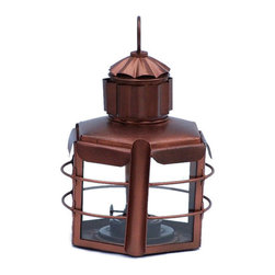 """Handcrafted Model Ships - Antique Copper Clipper Oil Lamp 11"""" - Antique Copper Oil Lamp - This Antique Copper Clipper Oil Lamp 11"""" is an authentic marine ship lamp. The antique copper finish creates a vintage clipper lamp as used in the 19th century to assist with lighting dim or dark areas. This hexagonal ship lantern is true to the original design of period lamps. Our boat lantern is fully functional and simply needs oil to omit light."""