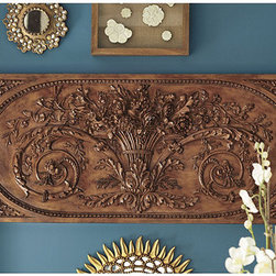 Ballard Designs - Grande Bouquet Plaque - Expand your art collection to more than just pictures or paintings. Add interest and beauty to your decor with a beautiful architectural piece with origins rooted in a Parisian architectural find. Most finishes have been created for indoor use. The zinc finish plaque can be used outdoors and would be beautiful above an outdoor fireplace.