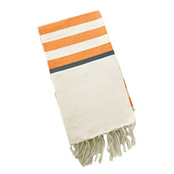 "Abanja - Barek Stripe Fouta Orange Towel - The Barek Fouta towel envelops with oversized comfort and classic style. Featuring bold orange stripes against a neutral background, a soft cotton blend forms the fringed beach accessory. 39""W x 72""H; 85% cotton/15% acrylic; Orange, black and neutral stripes"