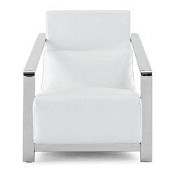 White Line Imports - Erika White Leather Armchair - Features:
