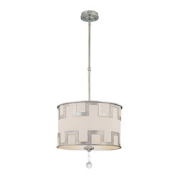 """Savoy House - Savoy House Mirabel 18 1/2"""" Wide Chandelier - This breathtaking design by Karyl Pierce Paxton is created with Classic Moderne style. The Argentum finish and laser-cut overlay combine with an off-white hardback shade for a splendidly striking fixture that will enhance any decor. From Savoy House. Argentum finish. Laser-cut overlay. Off-white hardback shade. Takes one 100 watt bulb (not included). 18 1/2"""" wide. 17 1/4"""" high. 5"""" wide canopy. Includes 10 feet of chain and 12 feet of wire. Hang weight of 12 lbs.  Argentum finish.   Laser-cut overlay.   Off-white hardback shade.   Takes one 100 watt bulb (not included).   18 1/2"""" wide.   17 1/4"""" high.   5"""" wide canopy.   Includes 10 feet of chain and 12 feet of wire.  Hang weight of 12 lbs."""