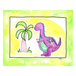 Oh How Cute Kids by Serena Bowman - Lil Purple Dino, Ready To Hang Canvas Kid's Wall Decor, 20 X 24 - Part of my Lil Dino dinosaurs series. At this count I have 4 different dinosaurs series maybe 5??  I seem to have a thing about Dinosaurs.