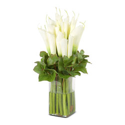 New Growth Designs - Calla Lily Arrangement, White - Want fresh flowers every day, but hate the maintenance? Here's your answer. These gorgeous faux Calla Lilies and Galax leaves are arranged in a classic glass column vase with a clear acrylic solution. Perfect for your foyer table, dining room, office or bedroom.