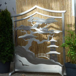 Stainless Steel Japanese and Asian Gate - Japanese bonsai gate with 3D effect side element without side element. 3D being that the gates are built and textured layer for layer by hand and welded together so that front and back have identical visual effects. All gates are engineered such that they are very solid and stable. Our Gates and railings make wonderful accents to ones entrance as they change there look depending on the angle you stand to them. There lighting and reflection colour change also due to there lighting, grinding and layering techniques. These designed and custom built stainless steel functional works fit to each individual customer and there needs. Construction is a combination from 3 and 5mm 304 Stainless steel. 316L alloy available at an adjusted price. Inc. all necessary hardware for installation on existing posts or walls.  Not inc. handling and shipping.