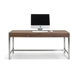 Jesper Office Furniture - Highland 75 Desk with Steel Base in Walnut - Features: