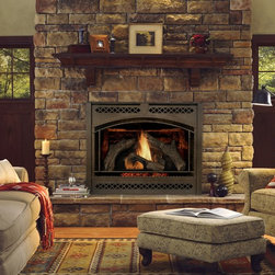 Heat & Glo - Traditional Style - Direct Vent Fireplaces - 8000CLX shown with chateau deluxe front in new bronze and st. cloud shelf mantel.