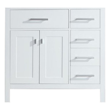 """Design Elements - Design Elements DEC076D-W-R Vanity in White, Base Cabinet Only - The London 36"""" Single Sink Vanity Cabinet,  constructed with solid wood, provides a contemporary design perfect for any bathroom remodel. The ample storage in this free-standing vanity includes one flip-down shelf, four fully functional drawers and one double door cabinet each accented with brushed nickel hardware. This vanity cabinet is available in an espresso or white finish and requires a counter top with a sink that is offset to the left above the double door cabinet."""