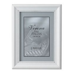 Lawrence Frames - Lightly Distressed 5x7 Picture Frame - Inner Bead Design - Beautiful lightly distressed white wood picture frame.  Inside edge is bordered with delicate beading.  High quality hand finished frame has a casual but elegant decorative look.  High quality black velvet backing.  Frame can stand vertically or horizontally and comes with hangers for horizontal or vertical wall mounting.   Individually boxed.