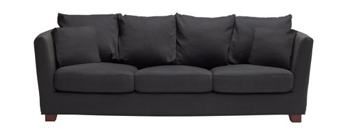Studio Slipcover Sofa. - Studio Slipcover Sofa, upholstered in spanish  linen and wooden legs.