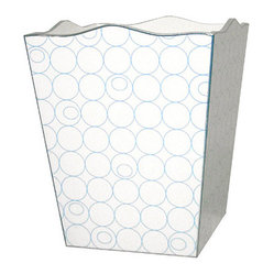 White and Blue Circles Decoupage Wastebasket