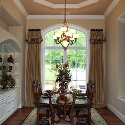 Formal Dining Room - Drapery panels with attached poof valance and necklace swags