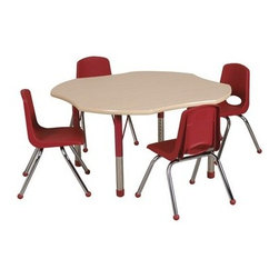 """Ecr4kids - Ecr4Kids Classroom Adjustable Activity Table - Clover 48"""" Elr-14101-Rdbk-Tb - Table tops feature stain-resistant and easy to clean laminate on both sides. Adjustable legs available in 3 different size ranges: Standard (19""""-30""""), Toddler (15""""-23""""), Chunky (15""""-24""""). Specify edge banding and leg color. Specify leg type."""