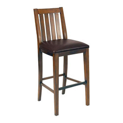 Home Styles - Home Styles Arts and Crafts Bar Stool Distressed Oak Finish - Home Styles - Bar Stools - 590089 - Arts and Crafts bar stool is constructed of Asian hardwoods in a distressed oak finish. Features include brown vinyl cushioned seat and metal footrest on front rail. Size: 18w 20.25d 46h