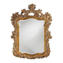 Howard Elliott - Turner Antique Gold Mirror - This large rectangular mirror has an ornate frame detailed with a feathery scrolling design that is finished in an antique museum gold and accented with white wash highlights.