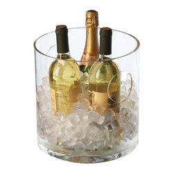 Circular Column Ice Bucket With Cut Out Handles - It's time for your dinner party. You've been looking forward to this evening all week, and it's finally here. Your guests start trickling in to your home, and their attention is immediately grasped by this column ice bucket. They reach for a bottle of White Zin, and you smile; you've pulled off an elegant party with chic details like this ice bucket. Treat yourself to a glass of wine. You deserve it.