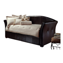 Hillsdale Furniture - Hillsdale Brookland Daybed - Whether your bedroom decor is contemporary or eclectic the Brookland daybed is a perfect fit. A mature sleigh design covered in dark brown leather. The daybed is padded adding increased comfort. Daybed includes built in trundle.
