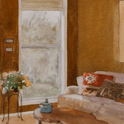"""""""Corner Window"""" Artwork - Corner of living room with light coming through the window. Note: This painting was photographed before it was signed by the artist (now bottom left.)"""