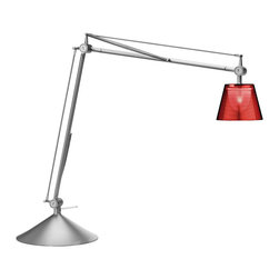 Flos - Archimoon K table lamp with base - This task lamp provides direct and diffused light. Acid-etched pressed borosilicate glass internal diffuser. Injection-molded polycarbonate diffuser, vacuum-aluminized inside. Gray painted die-cast aluminum diffuser support