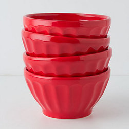 Anthropologie - Latte Bowls, Fire Engine, Set of 4 - What can I say; I have a thing for café au lait bowls, and these cherry red ones are fantastic.