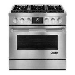 JDRP436WP Jenn-Air 36-inch Pro-style Dual-fuel Range - For the stainless steel lovers and gas cooking aficionados, this Orville model is a great choice. Its design is impeccable and timeless, and it offers five burners and a convection oven with a self-cleaning system. Sounds like a happy choice to me!