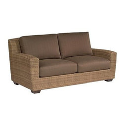 Whitecraft - Whitecraft Saddleback Loveseat - Enjoy plenty of quality time outdoors with Whitecraft's weather-resistant collection. Saddleback's warm finish produces a striated effect to the simple wicker weave giving the frames movement and depth. Softly curved the low profiles are modern in scale. Crisp plush upholstery is generously portioned and is a perfectly fashionable way to unwind.As firm believers in tradition and a strong belief in the art of craftsmanship Woodard has acquired Whitecraft Furniture the longest-lasting wicker company in the U.S. While wicker is known for its strength and durability those attributes are overshadowed by the ingenuity and elegance of Whitecraft furniture. Handcrafted and built to last. Whitecraft by Woodard is the beautiful woven patio furniture counterpart to Woodard's wrought iron and aluminum lines. With a variety of styles and finishes to fit your outdoor needs. Escaping to your own private outdoor oasis soothes the soul. Whether you're looking to create a casual seating area a sophisticated outdoor dining space or a complete outdoor room you'll find everything you need right here. Make a personal style statement—elegant exotic traditional modern or transitional—whether you have a covered porch deck pool-side patio or garden nook. We have the styles finishes fabrics and designs to fit any need. Whitecraft patio furniture has been creating hand-crafted patio furniture for almost 100 years. Whitecraft patio furniture quality designs and comfort have allowed Whitecraft the opprotunity to enlarge their offerings year after year.