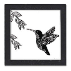 Hummingbird Pen & Ink - The Hummingbird Pen & Ink is a print of the original by Pamela Corwin. The tiny intricate patterns in each of Pam's pen & inks create beautifully detailed graphic designs. Framed in a classic black frame and available in two sizes, this handsome print will fit in any room .