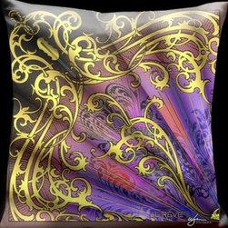 Lama Kasso - Parisian Mullti-Color with Gold Scrolls Fan Pillow 18 x 18 Satin Pillow - -Satin Lama Kasso - 200-002